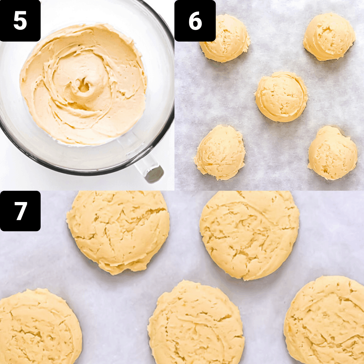 Step by step to make cookies: mix everything, form dough balls, bake.