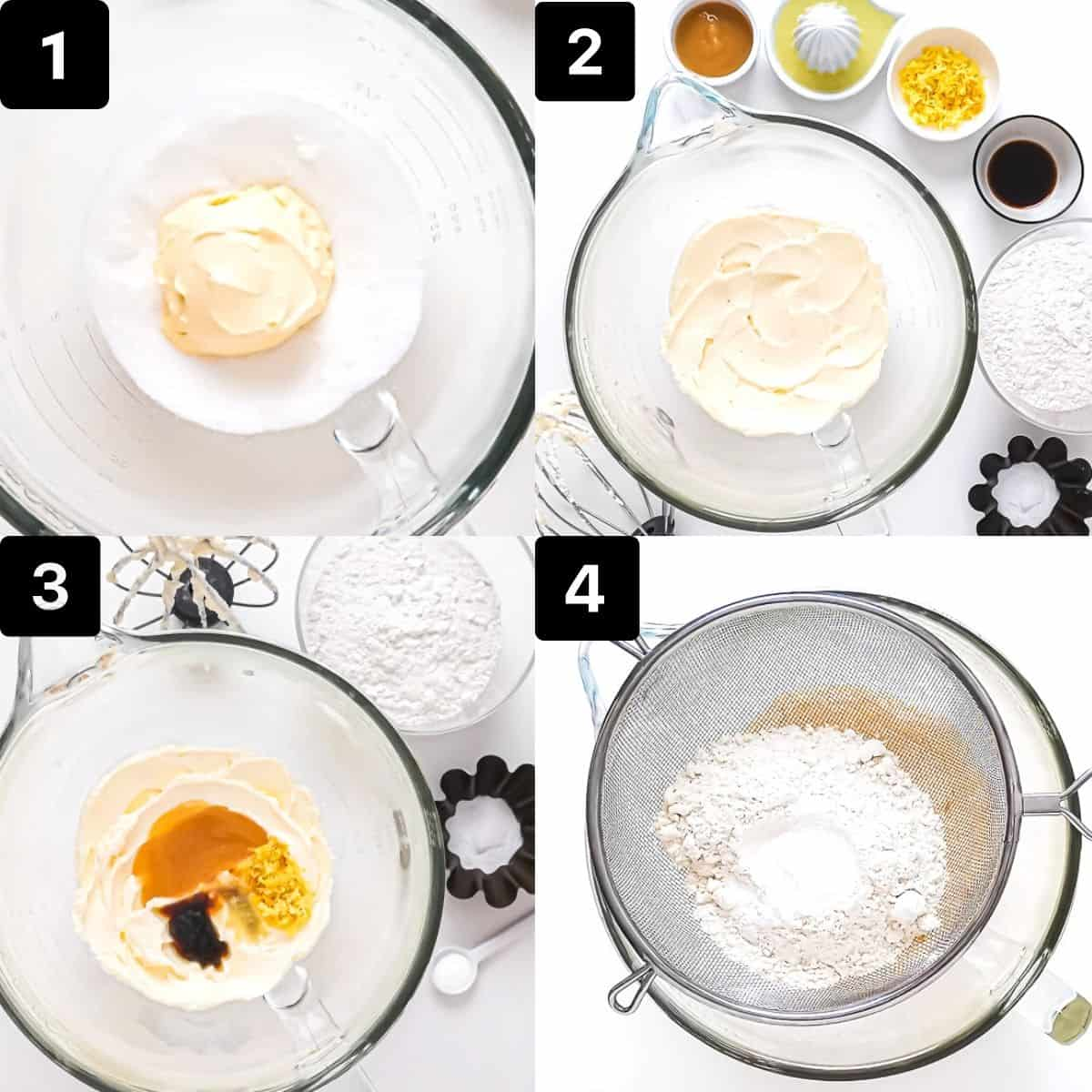 Step by step to make cookies: mix butter-sugar, add wet ingredients, sift in dry ingredients and mix.